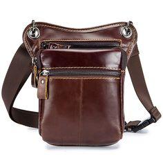 dea654ddf196 Retro Multi-functional Genuine Leather Shoulder Crossbody Bag Waist Bag Leg  Bag For Men is hot-sale