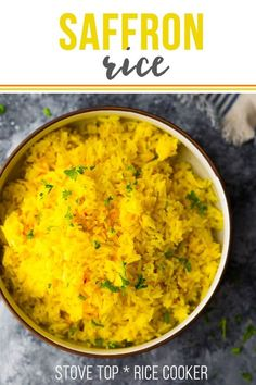 Saffron Rice - Rice Cooker - Ideas of Rice Cooker - This simple saffron rice recipe is infused with saffron flavor and is the perfect elegant side dish that pairs well with Middle Eastern and Spanish flavors. Cook it on the stove top or in a rice cooker. Yellow Rice Recipes, Basmati Rice Recipes, Rice Cooker Recipes, Cooking Recipes, Pollo Tropical Yellow Rice Recipe, Middle Eastern Rice, Middle Eastern Recipes, Indian Food Recipes, Vegetarian Recipes