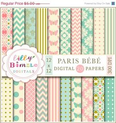 50% off PARIS BEBE digital papers in teal and salmon pink, modern scrapbook papers for cards, crafts and design elegant Digital Download