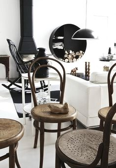 #interior #design #house #swedish #white #black #wood #nature #eco #fireplace #chairs #table