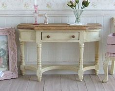 Dollhouse Miniature, Cream Half Table, Distressed Furniture, small sideboard, Dolls House, Country style, Shabby Cottage Chic, 1:12th Scale