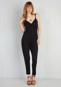 Slicker Than Your Average Jumpsuit - Better, Black, Jumpsuit, Knit, Black, Solid, Pockets, Casual, 90s, Ankle, Vintage Inspired, Spaghetti Straps, Valentine's, Beach/Resort, Top Rated, Summer