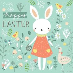 Happy Easter I hope everyone has a lovely long weekend! Art by Flora Waycott Easter Art, Hoppy Easter, Ostern Wallpaper, Easter Illustration, Easter Stickers, Happy Easter Day, Happy Easter Quotes, Happy Easter Wishes, Easter Pictures