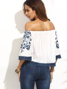 Blusa hombros al aire estampado cordón - blanco azul-Spanish SheIn(Sheinside)