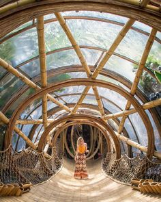 Bali, Indonesia An all-bamboo village in Bali, this resort is known for its eco-friendly practices and chic treehouses. The treehouse building pros here even Bamboo Architecture, Amazing Architecture, Architecture Design, Classical Architecture, Staircase Architecture, Modern Staircase, Bamboo Village, Bamboo House Design, Building A Treehouse