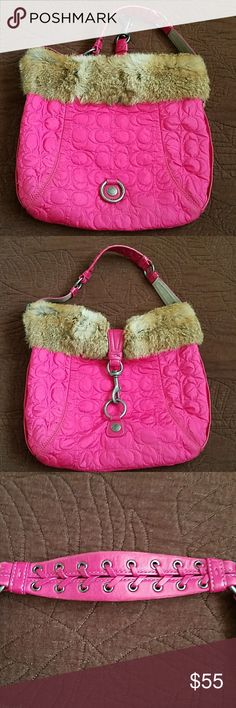 Coach Pink Shoulder Bag Quilted with Rabbit Fur Coach Pink Shoulder Bag Quilted with Rabbit Fur This bag is in good condition with some signs of wear and use. Please look at all pictures. Thanks! Coach Bags Shoulder Bags