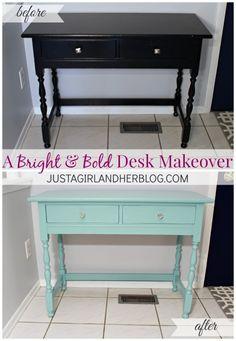 Dark and Dull to Bright and Bold: A Desk Makeover Furniture, Home Decor Accessories, Desk Makeover, Redo Furniture, Furniture Decor, Repurposed Furniture, Recycled Furniture, Furniture Rehab, Furniture Inspiration