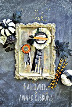 the pink couch: Vintage Inspired Halloween Award Ribbons ~ Gossamer Blue Tutorial