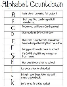 Joyful Learning In KC: The Alphabet Countdown for End of Year End Of School Year, Summer School, School Fun, School Days, School Stuff, Middle School, End Of Year Activities, Fun Activities To Do, Alphabet Activities