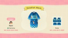 I would love it if you guys tagged me when you wear it! Animal Crossing Fish, Sims, Japanese Waves, Pixel Design, Animal Crossing Qr Codes Clothes, Big Animals, Wave Pattern, Island Life, Cool Artwork