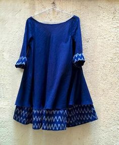 Blue Mulmul and Ikat Swing Dress - Mogra Designs Stylish Dresses For Girls, Stylish Dress Designs, Designs For Dresses, Simple Kurti Designs, Kurta Designs Women, Blouse Designs, Short Kurti Designs, Pakistani Dresses Casual, Pakistani Dress Design