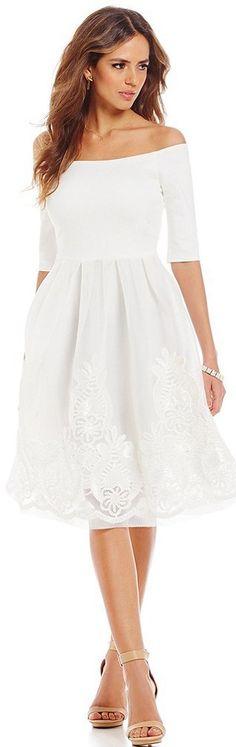Gianni Bini Dana Off-The-Shoulder Embroidered Dress