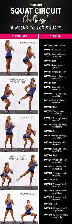 Your butt wants you to start this challenge TODAY! It only takes a few minutes every day, and you cant do it while brushing your teeth. It doesnt get easier. More Squats Challang, Workout Squats, Squats Challenges, Squats Routines, Squats Variations, 30 Day Squats, Squats Workout, Squats Circuit, 200 Squats Take Our Squat Circuit Challenge! 30 Days to 200 Squats This one is better than others Ive seen - there are multiple squat variations so it doesnt get so boring! Squat Circuit Challenge…