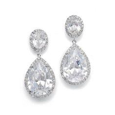 19fa00bb4 Couture CZ Drop Silver Bridal Earrings 2074E - pierced or clip- Affordable  Elegance Bridal -