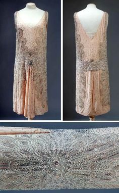 Evening dress, Lucien Lelong (attr.), 1928. Salmon-colored silk crêpe embroidered with transparent, pearlescent, and metal bugle beads, faux pearls, golden balls, pink & red rhinestones, and golden thread in shape of flowers with large petals. Skirt gives the effect of superimposed panels, open front and back. Musée Galliera, Musée de la Mode de la Ville de Paris