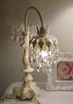 I want to make or buy a waterfall lamp like this to use instead of the ugly desk lamp. Beautiful!