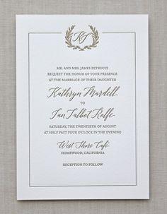 Letterpress Wedding Invitation / Jardin design / CHATHAM & CARON letterpress studio / monogram, crest, wreath, floral, flower, border, gold, classic, elegant, summer, spring, wedding invitation, letterpress