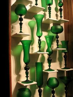 Green glassware.