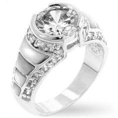 Tuscany Pearl 18K White Gold Simulated Diamond Ring
