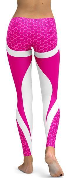 Pink Honeycomb Carbon White Leggings
