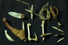Primitive bone hooks and fishing gear