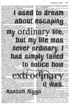 Life Quote Dictionary Print - Ransom Riggs Quote - Upcycled Dictionary Print, Vintage Art, Upcycled Art. $8.00, via Etsy.