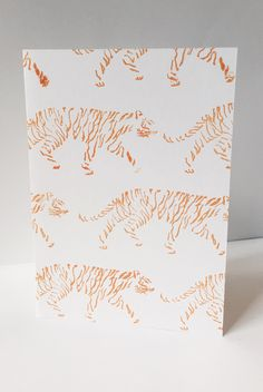 striding tigers blank card illustration by maria nilsson