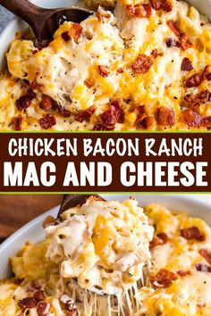 Delicious combo of chicken, bacon, ranch, and a mac and cheese made with three cheeses!  Family-friendly, make-ahead friendly, and perfect for a weeknight dinner! #macandcheese #chickenbaconranch #crackchicken #bakedmac #macaroniandcheese #easyrecipe #weeknightdinner #casserole
