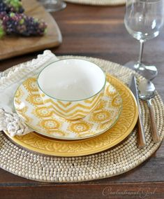 Cost Plus World Market Place Setting - Amber Embossed Earthenware Dinner Plates, Amber Painterly Geo Earthenware Salad Plates, Amber Painterly Chevron Bowls, Ecru Crochet Trim Napkins Place Settings, Table Settings, Yellow Dinnerware, Yellow Plates, Salad Plates, Plate Sets, Backyard Patio, Earthenware, Dinner Plates