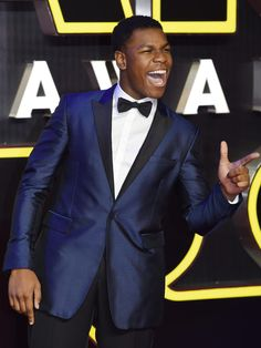 Actor John Boyega poses as he arrives to the European premiere of the film 'Star Wars: The Force Awakens' in Leicester square in London on Dec. 16, 2015.  Facundo Arrizabalaga, EPA