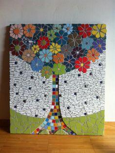 Mosaic Wall Art, Mosaic Diy, Mosaic Crafts, Mosaic Projects, Mosaic Tiles, Mosaic Stepping Stones, Stone Mosaic, Mosaic Glass, Mosaic Birdbath