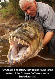 Oh that's a nope fish, NOPEFISH, they can be found in the waters of the I'll Never go there river, in Screwthatistan, Made me laugh! man fisherman holding giant big teeth fish mean looking