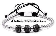 Bratara barbati cu Argint 925 cu 3 tuburi negre cu cristale zirconia este impletita manual. Acest model de bratara de barbati din Argint 925 este ambalat intr-o cutie cadou sau un saculet de catifea si poate fi cadoul ideal pentru o zi aniversara sau onomastica. Macrame Bracelets, Strand Bracelet, Metal Bracelets, Bracelets For Men, Fashion Bracelets, Charm Bracelets, Bracelet Making, Bracelet Set, Couple Jewelry