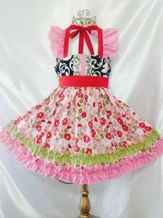 Girls Royal Ellie Halter Dress Size 4-5 Handmade; Everyday Use 100% cotton #Handmade #Everyday