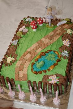 Themed sweets garden and gardening examples on pinterest for Fairy garden birthday cake designs