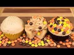 Candy Stuffed Peanut Butter Cupcakes with Peanut Butter Frosting from Cookies Cupcakes and Cardio - YouTube