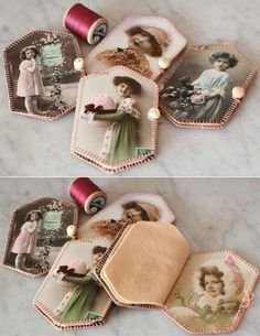 pique-aiguilles petites filles- adorable little needle-cases! Sewing Case, Sewing Box, Sewing Kits, Sewing Hacks, Sewing Crafts, Sewing Projects, Needle Case, Needle Book, Card Basket