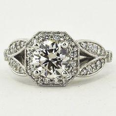 18K White Gold Luxe Victorian Split Shank Halo Diamond Ring. Set with a 0.95 Carat, Round, Super Ideal Cut, J Color, VVS1 Clarity Diamond. #BrilliantEarth
