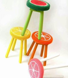 Citrus & watermelon crochet stool toppers
