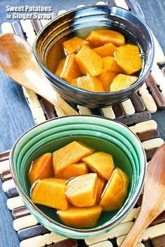 Sweet Potatoes in Ginger Syrup is a delicious and warming Chinese dessert using only a few ingredients. It takes less than 30 minutes to prepare.   RotiNRice.com