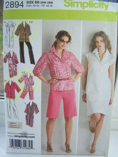 , Misses Pullover Dress, Semi-Fitted Tunic Top Bermuda Shorts Pants Full Wardrobe Plus Size 20W - 28W (2008)  13 pattern pieces and instructions are included. Pattern is UNCUT and appears to be in original factory fold. Envelope states pattern size is 20W - 28W. Orig. Retail $15.95.  Description: Zoom on pics to see full item description.  Dont forget to visit my shop for craft supplies, vintage collectibles and more. https://www.etsy.com/shop/witsenddesign  Shipping note - I will ship…