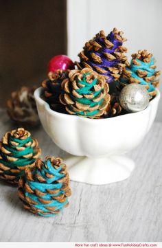 Yarn Pinecones - Fall Holiday DIY