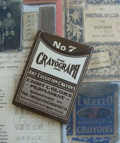 Antique cia 1919 Box of Crayons on Etsy, $12.95