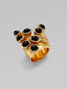 Saint Laurent Goldtone Artsy Dot Ring
