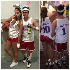 bugs bunny Lola bunny space jam movie couple costume Halloween Clever Couple Costumes, Movie Couples Costumes, Costumes For Work, Movie Character Costumes, Toy Story Costumes, Kids Costumes Girls, Costume Ideas, Zombie Halloween Costumes, Theme Halloween