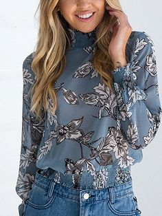 Shop Blue High Neck Floral Long Sleeve Bkouse from choies.com .Free shipping Worldwide.$12.99