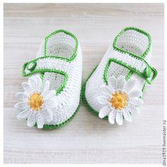 Купить пинетки для девочки, пинетки туфельки, белый цвет, ромашки - пинетки для девочки, вязаные туфли