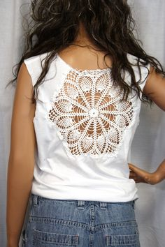 Spring Sale Upcycled Tshirt Doily Repurposed Tee White Lace Doily Boho Chic Style Altered T shirt  Small Medium. $29.75, via Etsy.