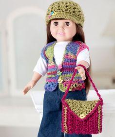 Crochet Dolls Patterns Free crochet hat, purse and vest pattern for dolls, including American Girl Dolls. American Girl Outfits, American Doll Clothes, Ag Doll Clothes, Crochet Doll Clothes, Doll Clothes Patterns, Doll Patterns, American Girls, Clothes Crafts, Dress Patterns