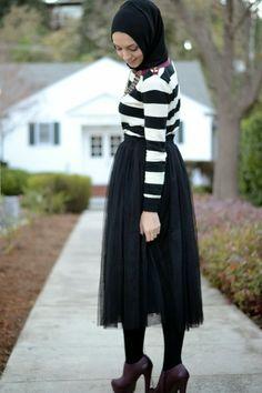 tulle skirt hijabi fashion hani hulu striped sweater